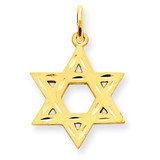 Star of David Charm 14k Gold Solid Satin XR445