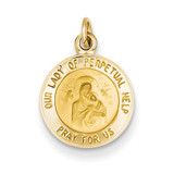 Our Lady of Perpetual Help Medal Charm 14k Gold XR642