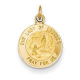 Our Lady of Lourdes Medal Charm 14k Gold XR648