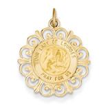 Our Lady of Lourdes Medal Pendant 14k Gold XR649