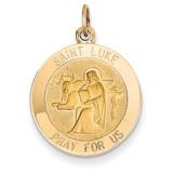 Saint Luke Medal Pendant 14k Gold XR650