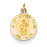 Our Lady of Mt. Carmel Medal Charm 14k Gold XR651