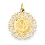 Matka Boska Medal Charm 14k Gold XR656