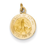 Our Lady of Fatima Medal Charm 14k Gold XR664