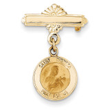 Saint Theresa Medal Pin 14k Gold XR746