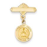 Holy Family Medal Pin 14k Gold XR748