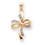 Diamond Cross Pendant 14K Gold & Rhodium XR823