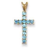 Blue Topaz Cross Pendant 14k Gold XR877