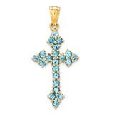 Blue Topaz Cross Pendant 14k Gold XR882