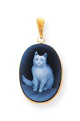 13x18 Sitting Cat Agate Cameo Pendant 14k Gold XU346