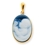 First Born Agate Cameo Pendant 14k Gold XU408