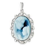 Diamond Agate Cameo with Sentiment Pendant 14k White Gold XU468-B