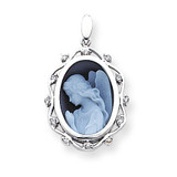 Diamond 12x16mm Guardian Angel Agate Cameo Pendant 14k White Gold XU519