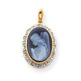 0.1ct Diamond 10x14mm Guardian Angel Agate Cameo Pendant 14k Gold XU520