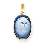 13x18mm Persian Cat Agate Cameo Pendant 14k Gold XU553