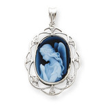 Wings of Love Diamonds Cameo 14k White Gold XU669