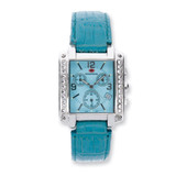 Ladies Mountroyal Blue Leather Synthetic Diamond Chrono Watch XWA1205