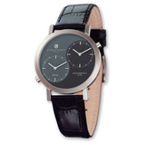 Mens Charles Hubert Leather Black Gray 37mm Dial Dual Time Watch XWA567