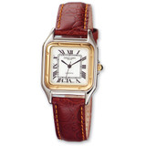 Mens Charles Hubert Leather Band White Dial Retro 32mm Watch XWA860