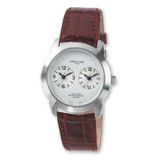 Mens Charles Hubert Leather Band Slvr-White 37mm Dial Dual Time Watch XWA960