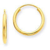 1.5mm Polished Round Endless Hoop Earrings 14k Gold XY1157