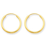 1.5mm Polished Round Endless Hoop Earrings 14k Gold XY1158