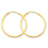1.5mm Polished Round Endless Hoop Earrings 14k Gold XY1160