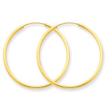 1.5mm Polished Round Endless Hoop Earrings 14k Gold XY1161