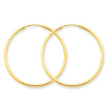 1.5mm Polished Round Endless Hoop Earrings 14k Gold XY1162