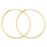 1.5mm Polished Round Endless Hoop Earrings 14k Gold XY1164
