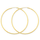 1.5mm Polished Round Endless Hoop Earrings 14k Gold XY1166