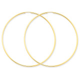 1.5mm Polished Round Endless Hoop Earrings 14k Gold XY1168