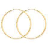 1.5mm Satin Diamond-cut Endless Hoop Earrings 14k Gold XY1169