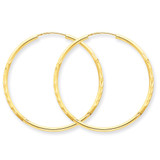 1.5mm Satin Diamond-cut Endless Hoop Earrings 14k Gold XY1170