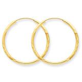 1.5mm Satin Diamond-cut Endless Hoop Earrings 14k Gold XY1171
