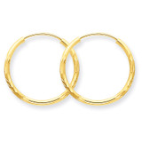 1.5mm Satin Diamond-cut Endless Hoop Earrings 14k Gold XY1172