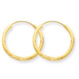 1.5mm Satin Diamond-cut Endless Hoop Earrings 14k Gold XY1173