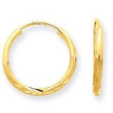 1.5mm Satin Diamond-cut Endless Hoop Earrings 14k Gold XY1174