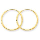 1.25mm Diamond-cut Endless Hoop Earring 14k Gold XY1218