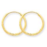 1.25mm Diamond-cut Endless Hoop Earring 14k Gold XY1219