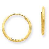 1.25mm Diamond-cut Endless Hoop Earring 14k Gold XY1220