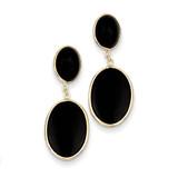 Onyx Oval Dangle Earrings 14k Gold XY825