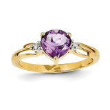 Diamond and Amethyst Heart Ring 14k Gold Y11419AM/AA