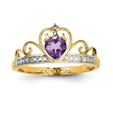 Diamond and Amethyst Heart Ring 14k Gold Rhodium Y11425AM/AA