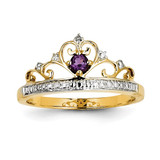 Diamond and Amethyst Heart Ring 14k Gold Rhodium Y11426AM/AA