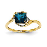 Diamond and London Blue Topaz Square Ring 14k Gold Y11457BT/AA