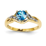 Diamond and Light Swiss Blue Topaz Heart Ring 14k Gold Rhodium Y11458BT/AA