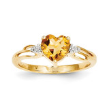 Diamond and Citrine Heart Ring 14k Gold Y11529CI/AA