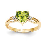Diamond and Peridot Heart Ring 14k Gold Y11560PE/AA