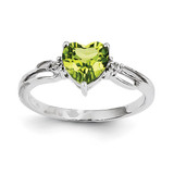 Diamond and Peridot Heart Ring 14k White Gold Y11561PE/AA